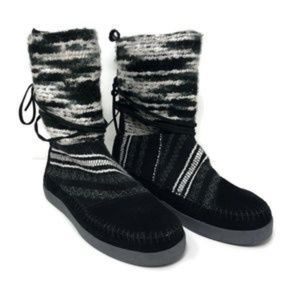 Toms Nepal Winter Boots Black Suede Size 8